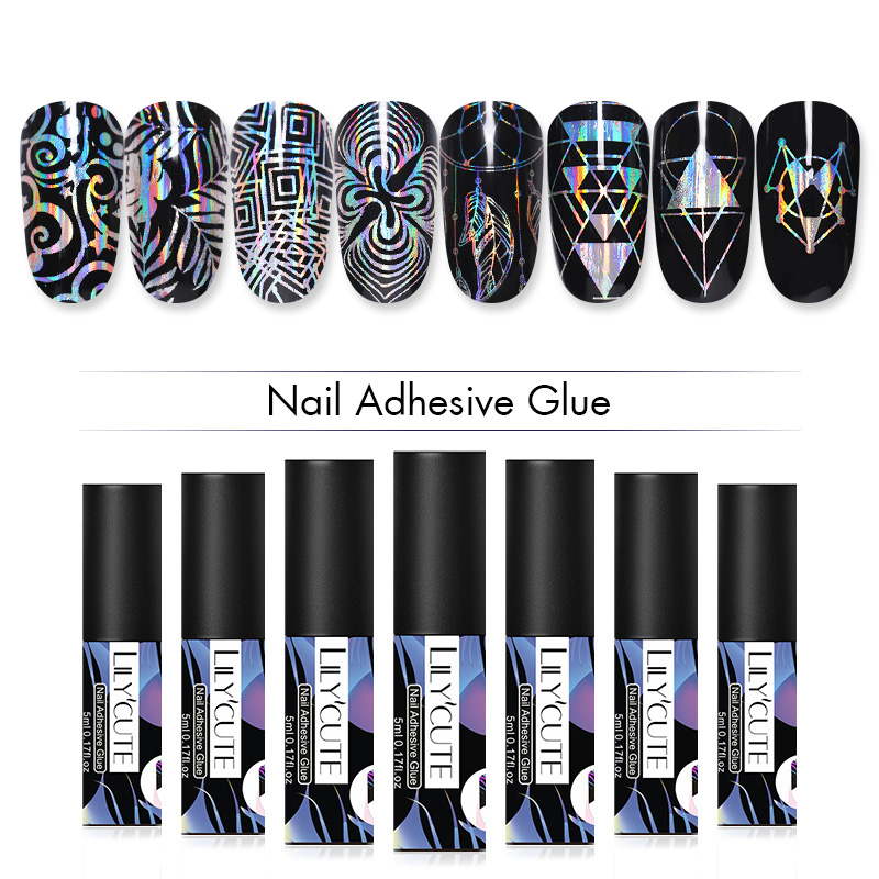 LILYCUTE 5ml Nail Adhesive Glue For Foil Transfer Sticker Decals Tips Nail Art Accessories Tools No Need Curing UV Lamp