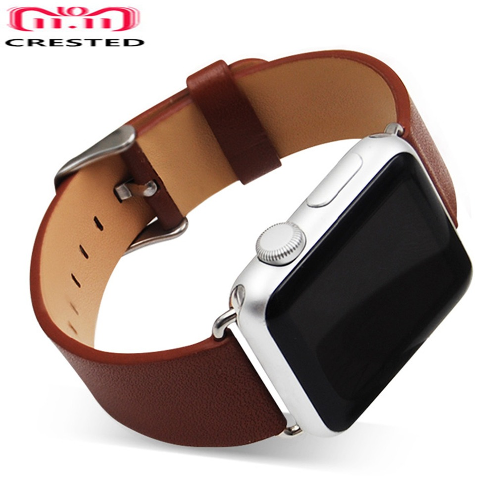 CRESTED Genuine Leather band For Apple Watch series 4 44 mm/40mm strap correa iwatch 3 2 1 42mm/38mm Wristband Bracelet belt цена