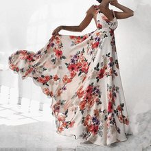 Women Summer Boho Backless Sexy Beach Maxi Dress Elegant Strap Floral Print Sundress Holiday Big Swing A Line White Long Dresses