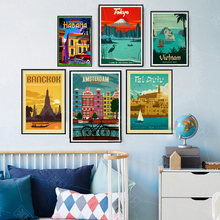 Bangkok Tel Aviv Europe World City Tour Travel Scenery Vintage Landscape Poster Prints Wall Art Canvas Painting Room Home Decor(China)