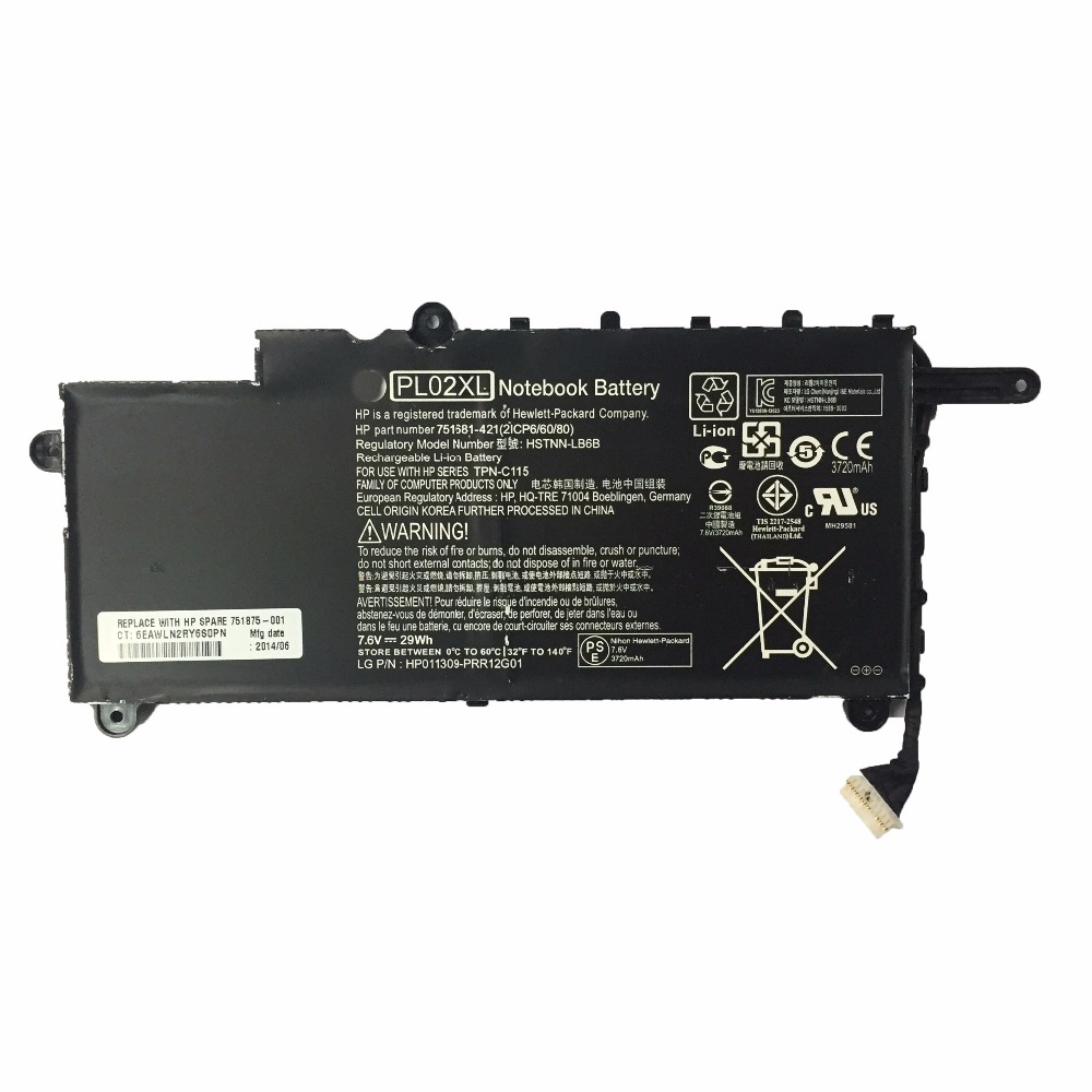 3400mAh for HP Laptop battery PL02XL HSTNN-LB6B TPN-C115 751681 421 21CP6 60 80 PAVILION 11-N X360 SERIES3400mAh for HP Laptop battery PL02XL HSTNN-LB6B TPN-C115 751681 421 21CP6 60 80 PAVILION 11-N X360 SERIES