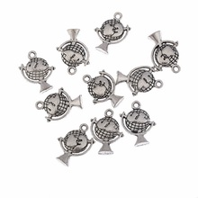 TJP 10pcs Global World Tellurions Round Charms Pendants Beads Antique Silver Tone for DIY Bracelets Jewelry Making Findings 17mm