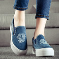 Fashion Breathable Slip on Women's Denim Shoes Spring Autumn Flats Women Loafers Thick Sole Canvas Espadrilles