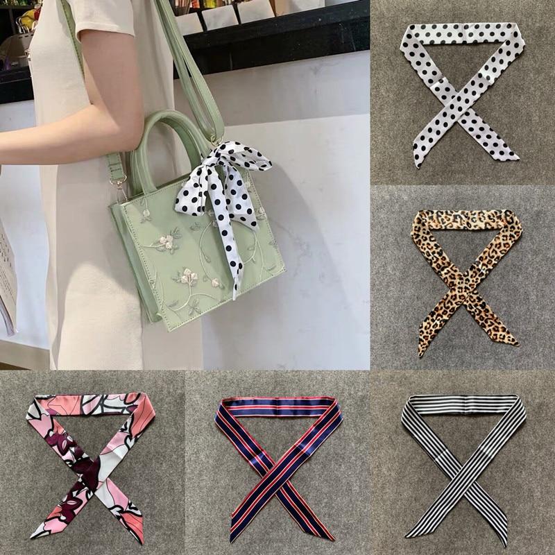 2020 New Small Long Skinny Scarves Handle Bag Scarf Brand Silk Scarf For Women Fashion Head Scarf Wraps Bag Decoration Dropshipp