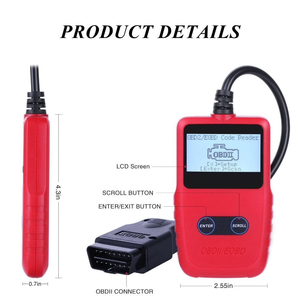 High Quality VC309 Car ODB2 Tool OBD II EOBD Car Diagnostic Tool Code Scanner Fault Reader