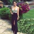 Negro brillante de Alta Slits Largo Party Prom Vestidos Del Desfile de Los Vestidos 2017 Cristales Con Cuentas Sexy Escote En V Gasa Vestidos de Noche Formales