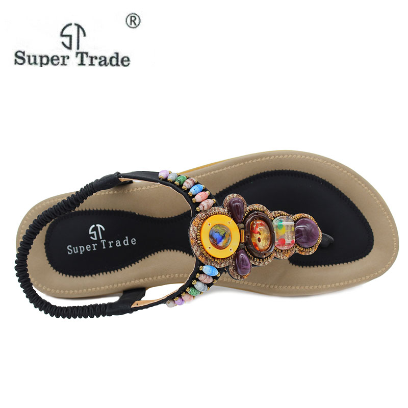 cba32ad4fbeddd 2018 New Korean Comfort Women Sandals Bohemian Beaded Flat Shoes Large Size  43 45 women Shoes Royal Women Sandals ST 99-in Women s Sandals from Shoes  on ...