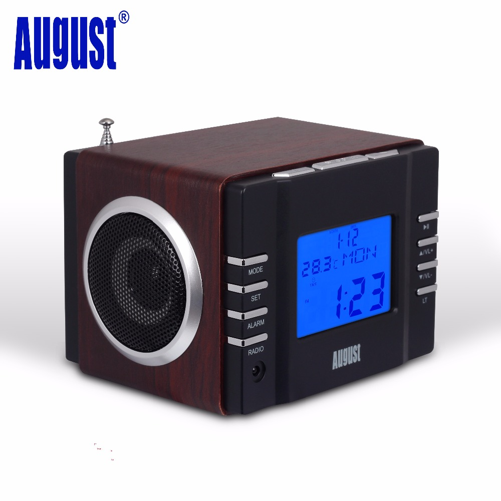 august mb300b mini wood fm clock radio receiver and mp3 stereo system with card reader usb aux. Black Bedroom Furniture Sets. Home Design Ideas