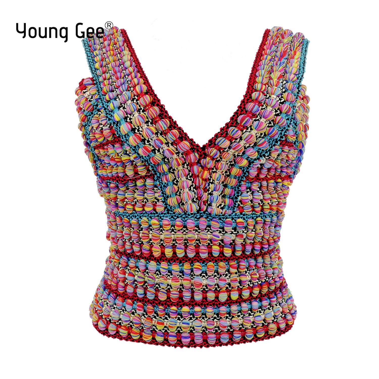 Женская майка без рукавов, бандажный высокоэластичный кроп-топ в национальном Радужном стиле, на бретелях, пикантная уличная одежда, на лет...