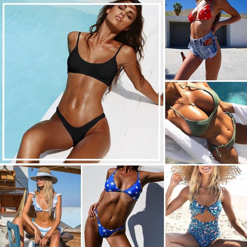 цена на 2017 New Summer Women Sexy Bikini Set Floral Swimsuit Bandeau Push Up Swimwear Longline Bandage Bathing Suit NK137