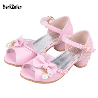 Yorkzaler Peral Bowknot High Heels Kids Sandals For Girl 2018 Fashion Casual Wedding Children Shoes Toddler