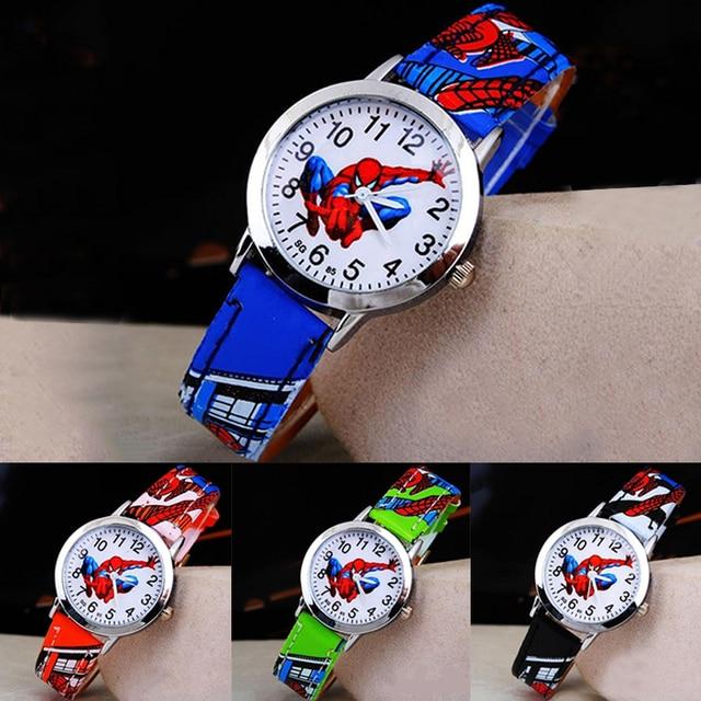 Children's Cartoon Watch Spiderman Leather Strap Quartz Watch Best Child Wristwa