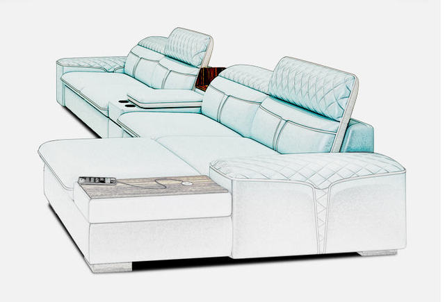 Luxury  L Shape Sofa w/ Corner Storage 3