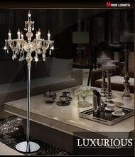 Moda cristal moderna lámpara de luces de la sala dormitorio lámparas de cristal francés moderno stand cristal Abajur cristal