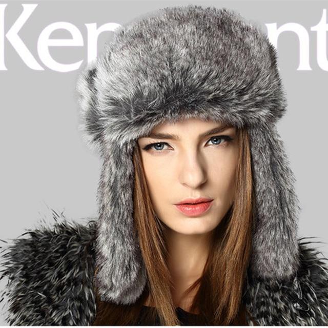 1d1331700c5 Kenmont Winter Women Lady Fashion Outdoor Ski Earflap Faux Fur Aviator  Trapper Bomber Hat Russia Cap 1373