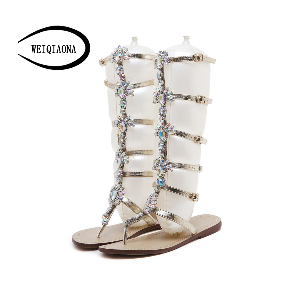 WEIQIAONA 2018 New Hot Sale Summer Sandals Women Large Size Crystal Rome Narrow Band Low-heel Casual Party Beach Shose