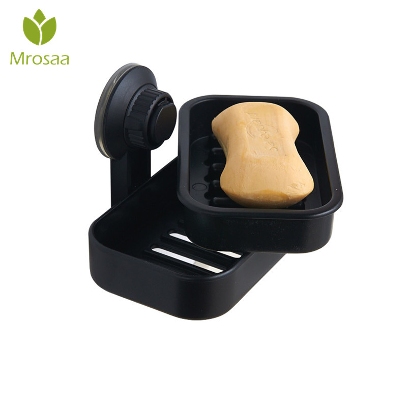 Mrosaa Plastic Soap Holder Soap Dish Draining Double-layer Soap Dishes Suction Cup Soap Box For Bathroom Lavatory Kitchen