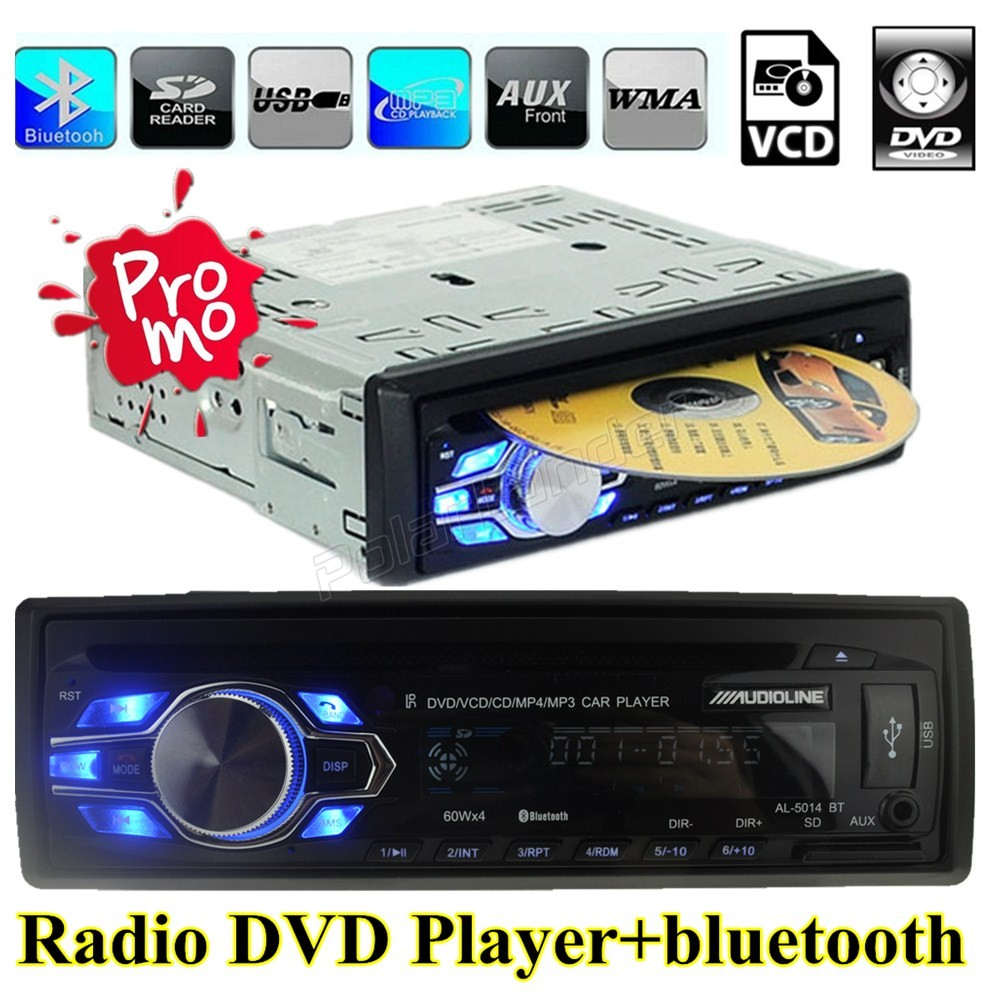 Hot sale arrival automatic car radio bluetooth mp3 player 12v audio handfree usb mp3 dvd vcd cd fm radio 5v charger in 1 one din