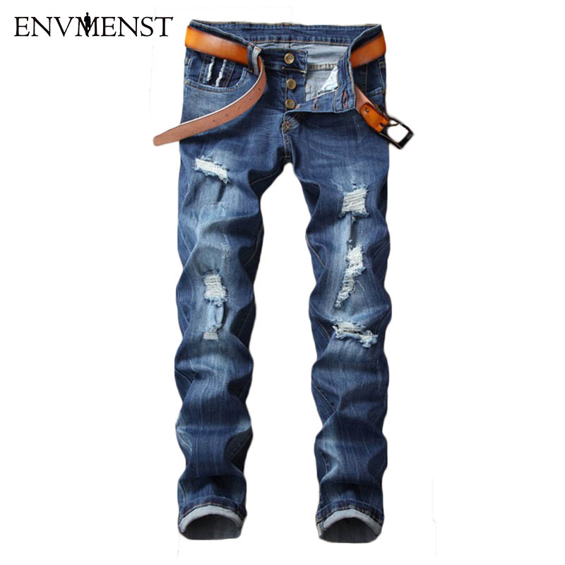 2017 New Mens Jeans Ripped Holes Pencil Pants Male Street Style Casual Trousers Cool Stretch Man Blue Denim Pants Big Size