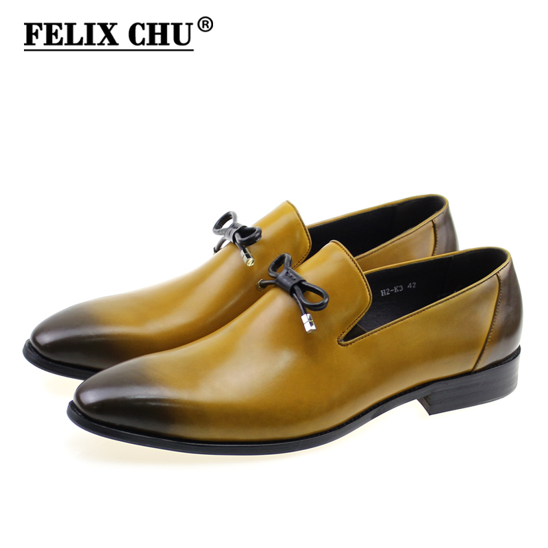 FELIX CHU Fashion Pointed Toe Genuine Leather Men Dress Shoes Slip On Wedding Party Male Brown Loafers With Bow Tie #H2-K3 недорго, оригинальная цена
