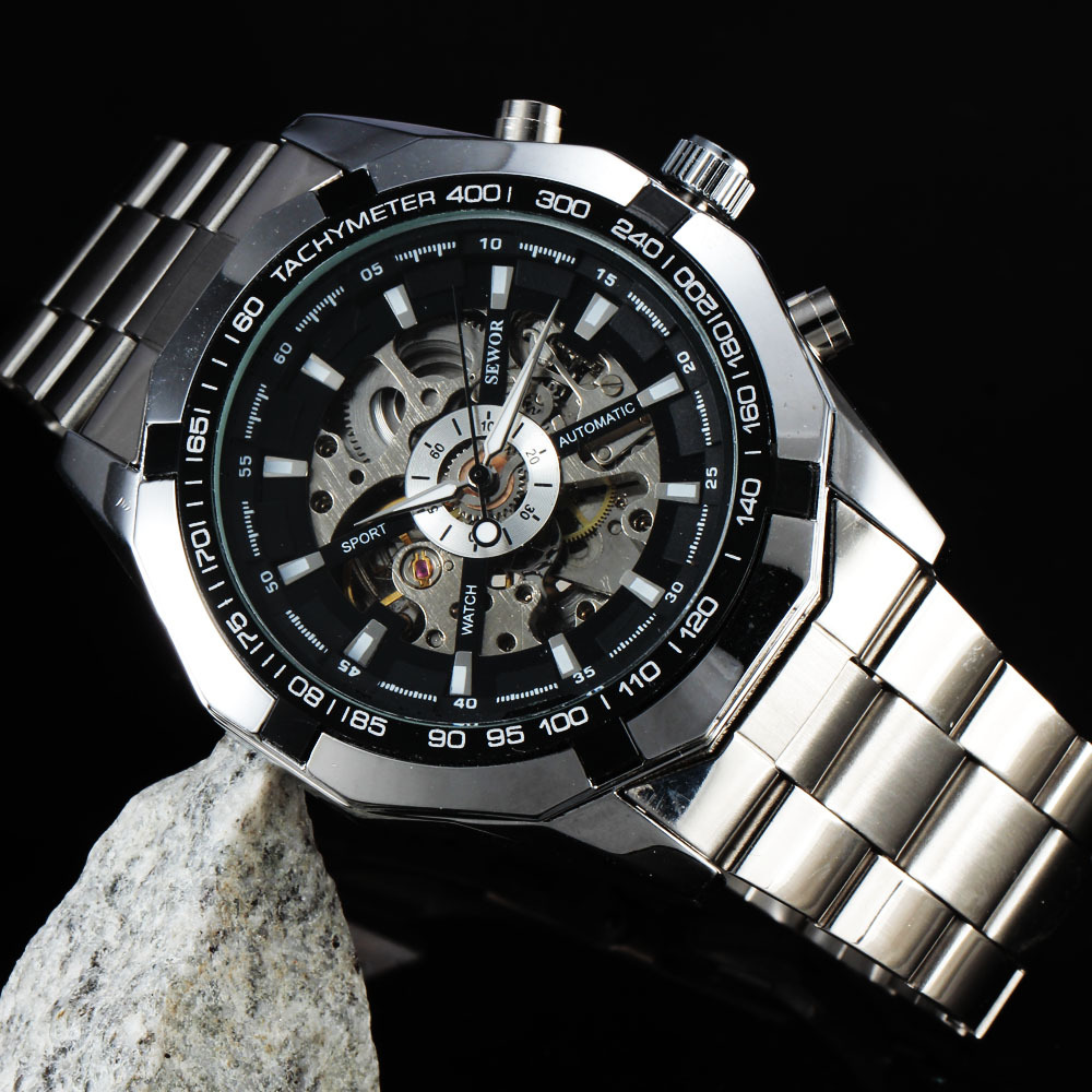 SEWOR Fashion Stainless Steel Skeleton Watches Men Male Clock Stylish Design Classic Military Automatic Mechanical Wrist Watch shenhua brand black dial skeleton mechanical watch stainless steel strap male fashion clock automatic self wind wrist watches