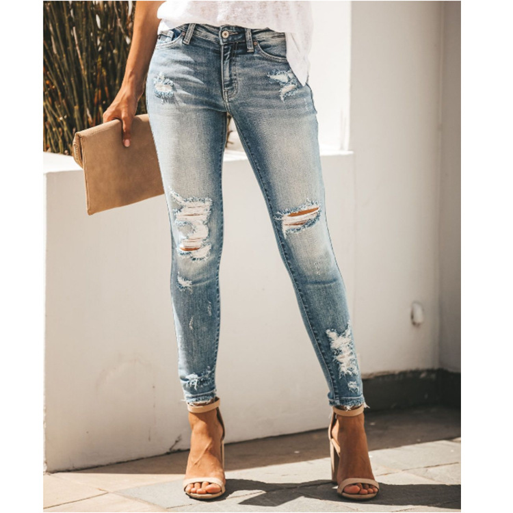 Fashion Office Lady Jeans For Women Hole Vintage  High Waisted Pencil Jeans Skinny Ripped  Ankle- Length Denim Pants