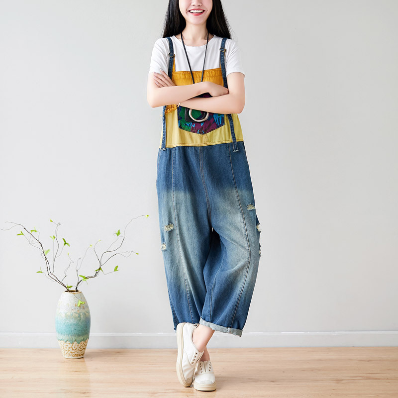 Women Summer Patchwork Print Bleached Denim Jumpsuits Ladies Plus Size Overalls Pants Female Holes Ripped Trousers