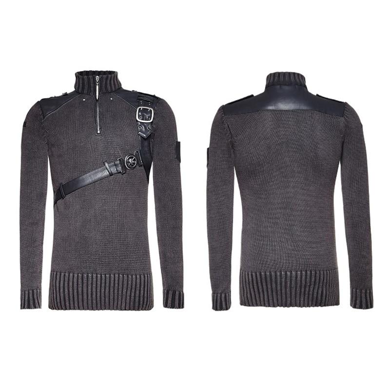 PUNK RAVE Heavy Punk estilo Otoño Invierno tachonado suéter de cuero negro hombres Steampunk buen ajuste militar Retro - 5
