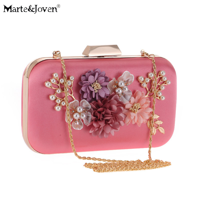Luxury Designer Fashion Women s Rose Gold Evening Bag Clutch for Wedding  Bridal Crystal Pearl Flower Clutches Dinner Bags da94e2d7ef