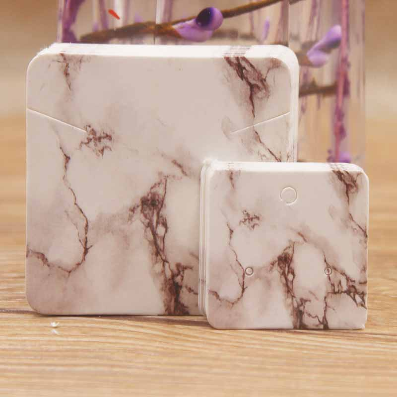 New Arrival Marble 5*5cm Elegant Jewelry Necklace Pendant Package Card50pcs+50pcs 3*3cm Cute Stud Earring Display Card Per Lot