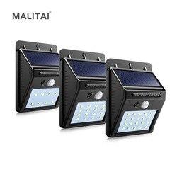 Solar recarregável led solar luz lâmpada do jardim ao ar livre decoração pir sensor de movimento noite luz de parede segurança à prova dwaterproof água