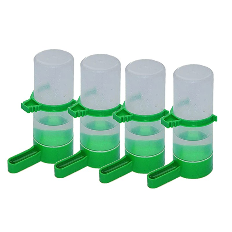 New 4x Bird Pet Water Drinker Food Feeder Waterer Clip For Aviary Budgie Plastic