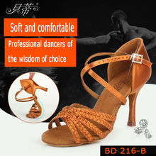 Ballroom Dance Shoes Woman Sneakers Salsa High heels Shoe Party Adult Sports Brown High Quality Girl Dancing Coupons BD 216b