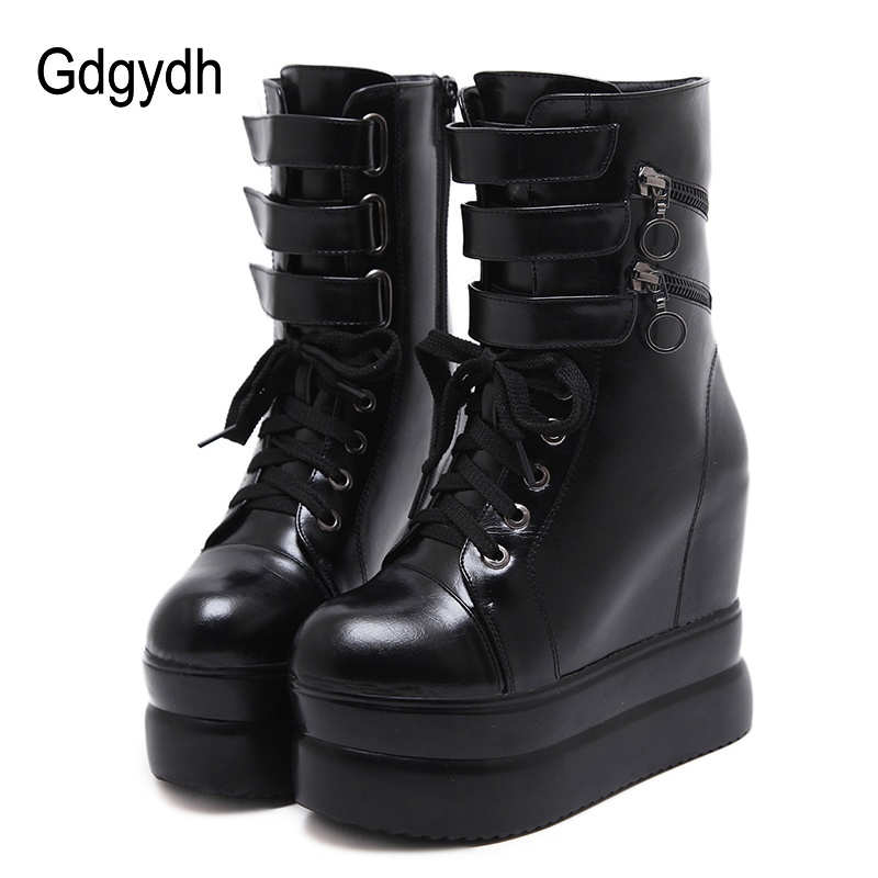 Gdgydh 2018 Women Spring Ankle Wedges Boots Black Autumn Leather Boots For Ladies Party Platform Heels Lacing Shoes Promotion джинсы diesel diesel di303emxbm44