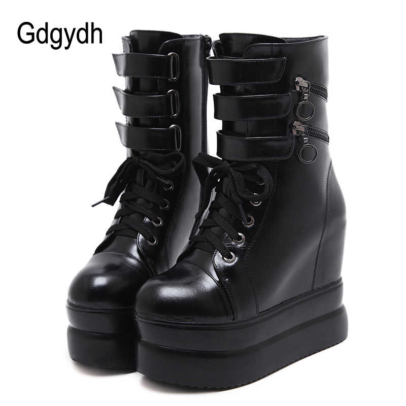 19199480063af Gdgydh 2019 Women Spring Ankle Wedges Boots Black Autumn Leather Boots For  Ladies Party Platform Heels