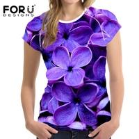 FORUDESIGNS Roxo lilás Flor 3D Mulheres camiseta Verão Fino Topos de Culturas Senhoras Musculação Tshirt Elástico Feminino Roupas Casuais