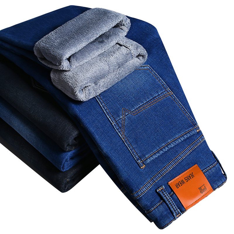 2019 New Men Warm   Jeans   Business Casual Thick Warm Slim Elastic Trousers Male Denim Pants Black Blue Brand Clothes Plus Size