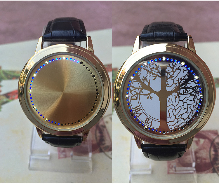 Fashion concept touch screen lovers watch waterproof LED leather gold life tree wristwatch clock student simple relogio feminino