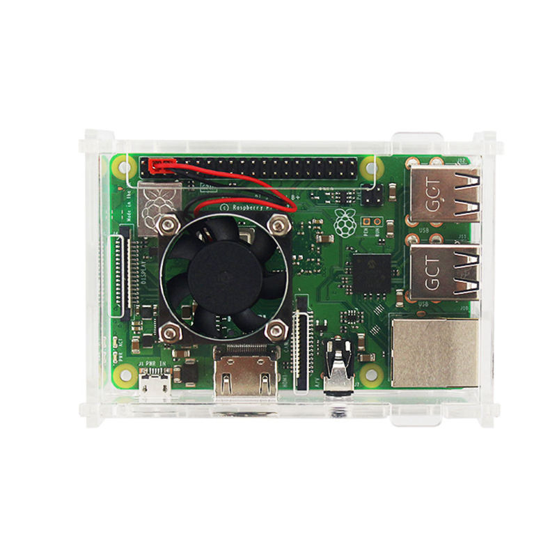 For Raspberry Pi 3 Model B+(Plus) Acrylic Case Transparent Box Cover Shell + Cooling Fan+Aluminum Heat Sink For Raspberry Pi 3