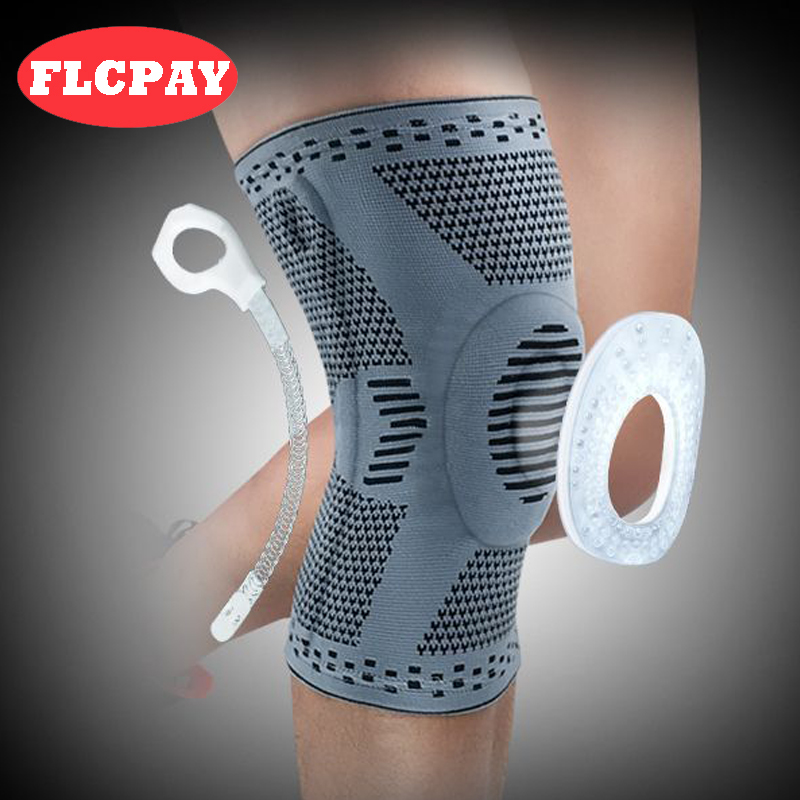 1 piece Patella Knee Protector Brace Silicone Spring Knee Pad Basketball Knitted Compression Elastic Knee Sleeve Support Sports(China)