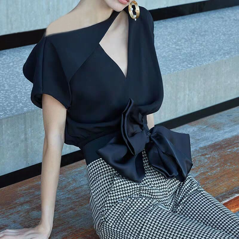 High Quality New Summer Women's Skirts Suits OL Irregualr Collar Blouses And Career Plaid Simple Skirt Suits Set With Bows NS990