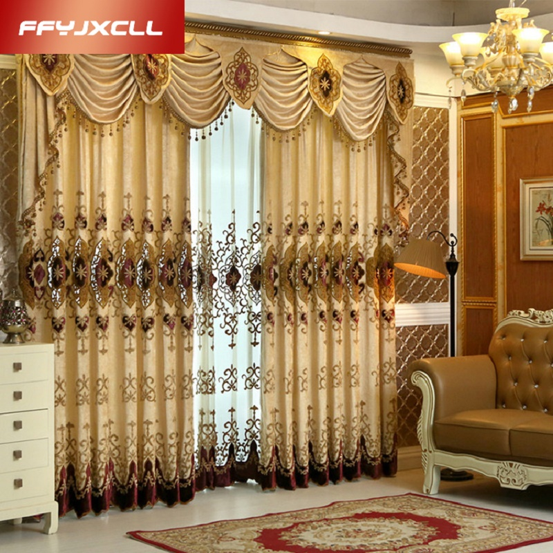 Gorgeous Europe Embroidered Curtains For Living Room