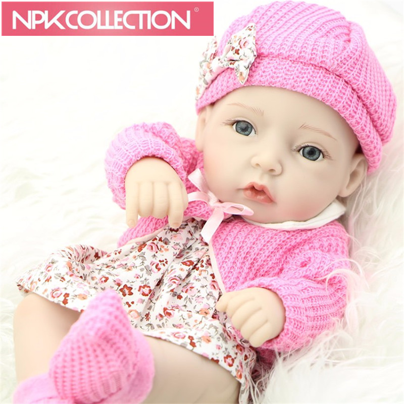 Classic 11 Inch Princess Girl Doll Handmade Full Silicone Vinyl Reborn Baby Dolls With Red Rose Clothes Set Kid Birthday Gift N5 american princess 18 45cm girl dolls brown long hair beauty girl reborn handmade vinyl newborn baby doll girls gift
