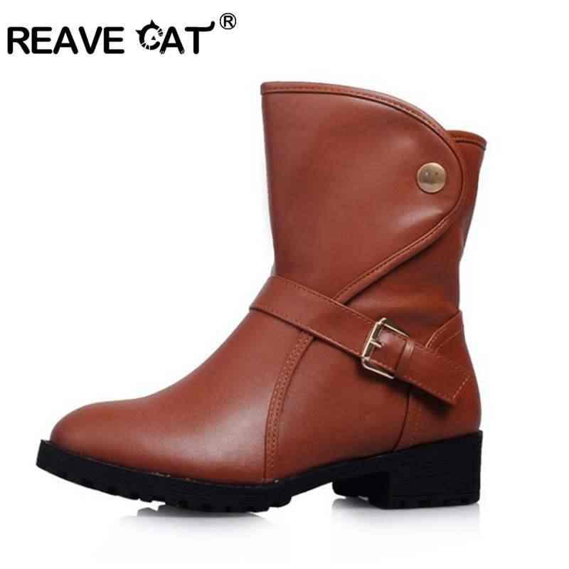 REAVE KEDI Ayakkabı kadın yarım çizmeler Yuvarlak ayak Kadın mujer botas Moda Retro Kayma Toka Katı Siyah Kahverengi Artı boyutu a1154