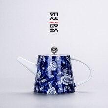 Jingdezhen blue and white porcelain kettle, kung fu tea set painted celadon tea making device retro filter household ceramic стоимость
