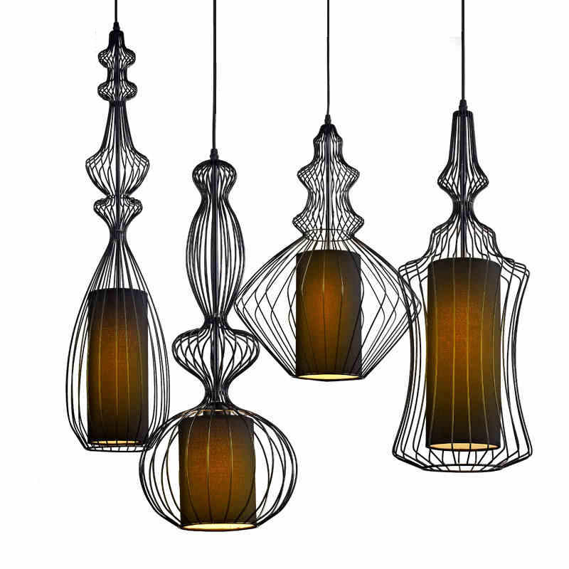 Vintage Suspension Lantern Pendant Light Tibet Black Iron Pendant Lamp Restaurant Light Retro Lighting Fixture For Cafe Bar Dining Room (32)