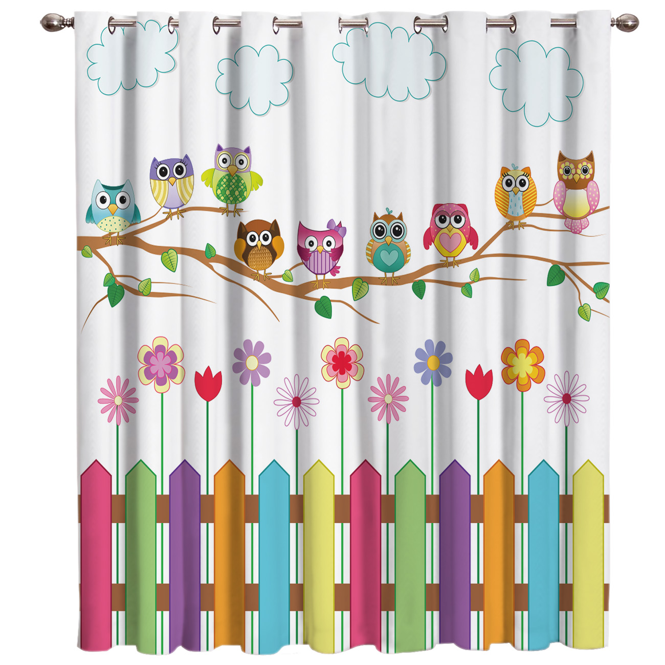 Cartoon Kid Cute Owl Window Curtains Dark Window Blinds Living Room Blackout Bedroom Fabric Kids Curtain Panels With Grommets