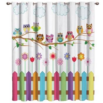 Детские шторы с изображением милой Совы из мультфильма, темные жалюзи на окно, декор для гостиной, спальни, ткань, Детские занавески с Люверс...