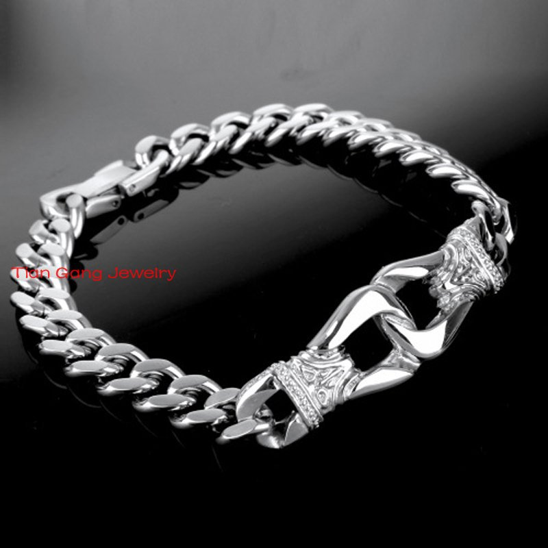 mens bs jewelry gauge silver bling chain cuban bracelet italy miami az