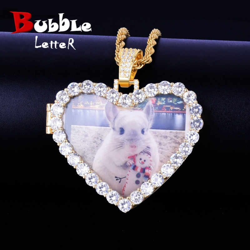 Custom Made Photo Heart Medallions Necklace & Pendant With 4mm Tennis Chain Gold Color AAA Zircon Men's Hip hop Jewelry 5x4.8cm